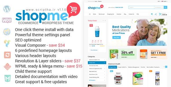 دانلود پوسته فروشگاهی برای ووکامرس ShopMe v1.1.6