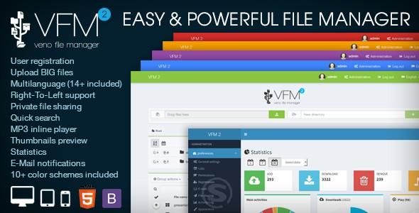 اسکریپت مدیریت ، میزبان و اشتراک گذاری فایل Veno File Manager v2.1.2