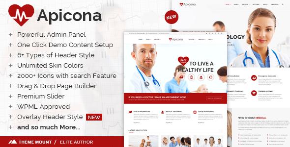 دانلود قالب پزشکی و بهداشت برای وردپرس Apicona v10.2.0