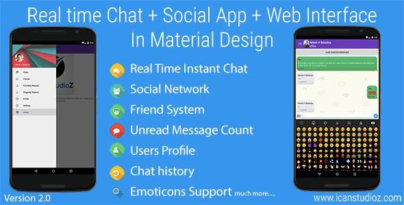 دانلود سورس اندروید چت و گفتگو + شبکه اجتماعی Real Time Chat v2.0.1