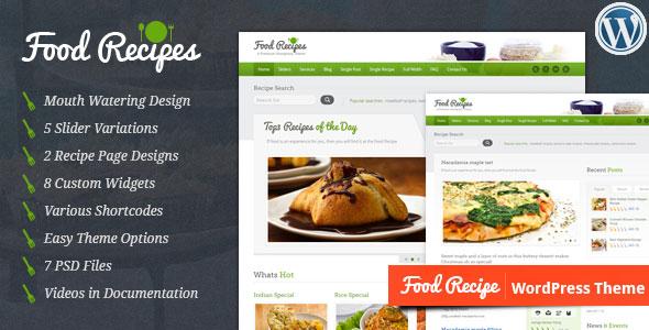 دانلود قالب دستور پخت غذا و آشپزی برای وردپرس Food Recipes v2.4.1