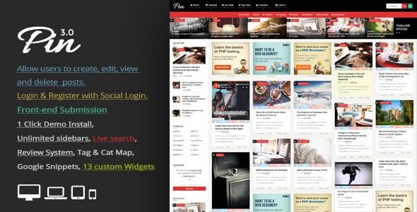 دانلود قالب وبلاگی برای وردپرس Pin v3.0