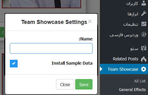 افزونه Team Showcase