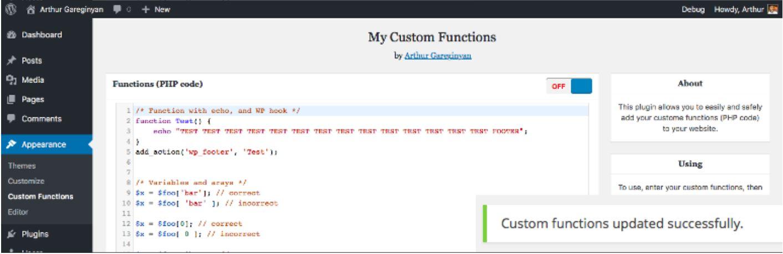 افزودن کدهای توابع به قالب وردپرس
