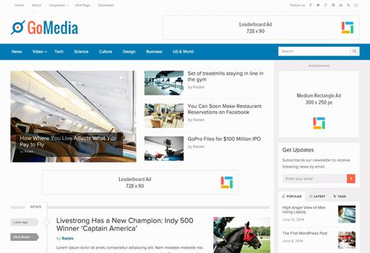 دانلود قالب مجله ای خبری وردپرس GoMedia v1.0.5