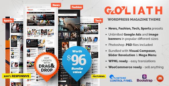 دانلود قالب مجله ای خبری برای وردپرس Goliath v1.0.26
