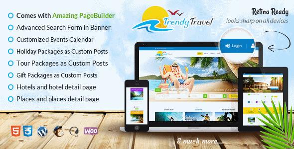 دانلود قالب تور گردشگری و آژانس مسافرتی برای وردپرس Trendy Travel v2.2