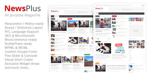 دانلود قالب خبری و مجله ای برای وردپرس NewsPlus v2.4.5